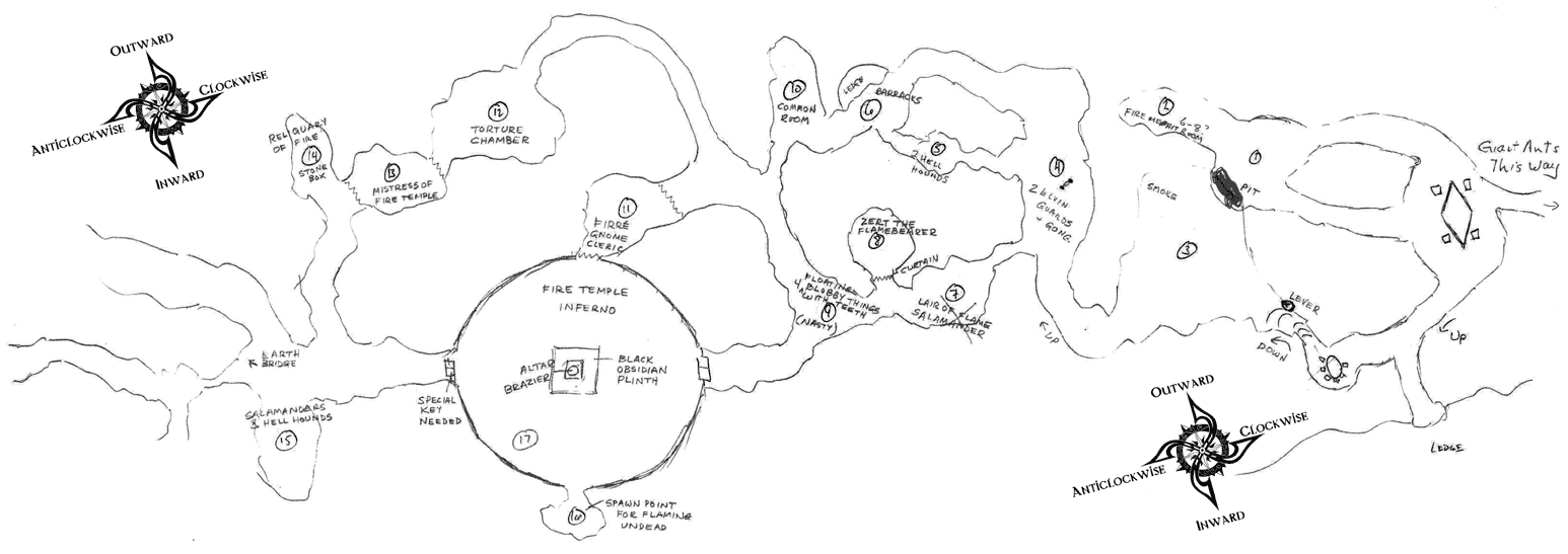 Approximate map of the Fire Temple Complex